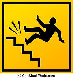 escalier, vecteur, signe, automne