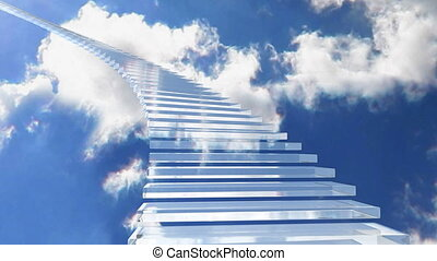 escalier, verre, 01