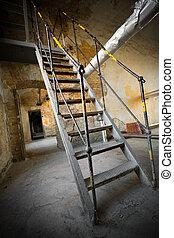 escalier, vieux, fer