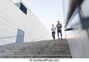 escalier, ville, couple, bas, courant