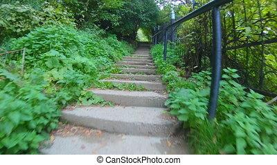 escaliers., escalade, montées, étapes, étape, béton, pov, quelqu'un