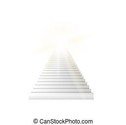 escaliers haut, illustration, vecteur, aller, sky.