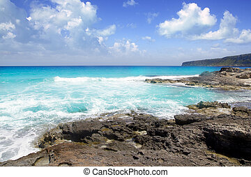 escalo es calo Formentera north rocky coast aqua sea ...
