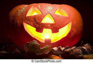 escalofriante, calabaza, con, vela, en, boca, halloween, concepto