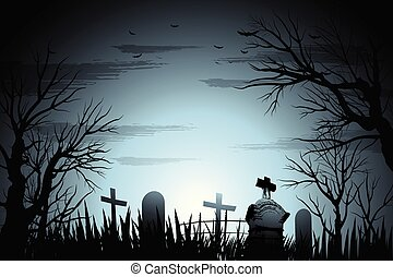 escalofriante, cementerio, halloween, plano de fondo, con, árbol, y, lápida, apoye lit