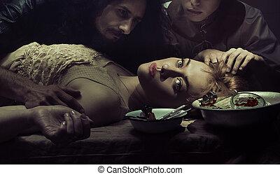 escalofriante, escena, de, el doctor, y, enfermera, mirar fijamente, en, muerto, paciente