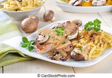 Escalope chasseur with spaetzle - Escalope of pork with...