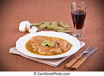 Escalope with marsala wine.