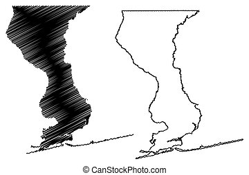 Escambia County, Florida (U.S. county, United States of America, USA, U.S., US) map vector illustration, scribble sketch Escambia map
