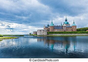 escandinavia, suecia, histórico, tourism., señal, kalmar, europe., castillo, edificio.