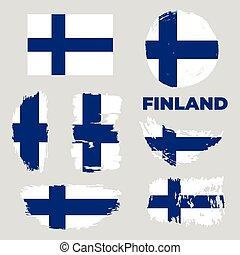 escandinavo, bandera, country., finland., bandera, rasguñado, grunge., textura