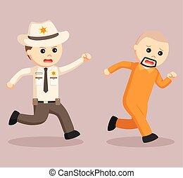 escapado, oficial, alguacil, persecución