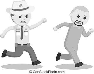 escapado, prisioneiro, oficial, xerife, perseguição
