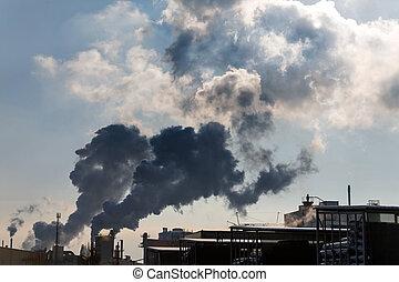 escapamento, chaminé industrial, gases