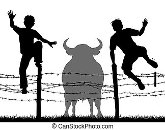 escapar, toro