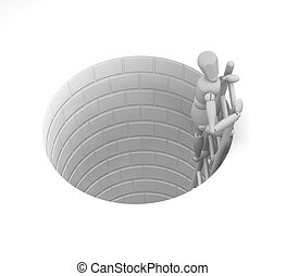 3D render of someone escaping from a tunnel