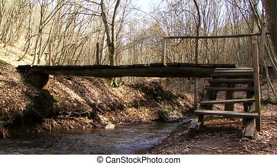 Escape across the bridge - Two men flee from the forest.