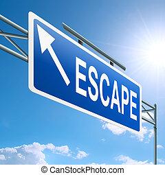Escape concept. - Illustration depicting a highway gantry ...