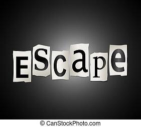 Escape concept. - Illustration depicting cutout printed ...