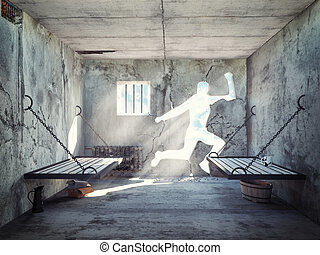 escape from a prison cell - escape from a prison cell. 3d...