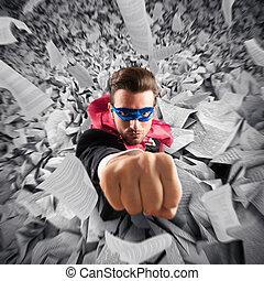 Escape from bureaucracy - Superhero businessman escape from ...