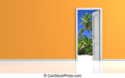 escape from everyday life - orange wall and white door open ...