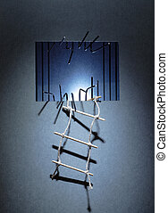 Escape From Prison - Rope ladder hanging on the prison wall...