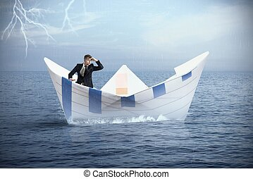 Escape from the crisis - Businessman escapes from the crisis...
