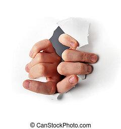 Escape - hands tearing paper