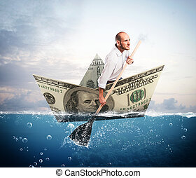 Escape on banknote boat - Businessman paddling on a big...