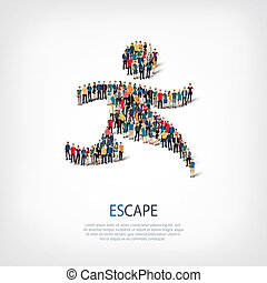 Isometric set of styles, escape , web infographics concept illustration of a crowded square, flat 3d. Crowd point group forming a predetermined shape. Creative people. - Vector Illustration. Stock vector.
