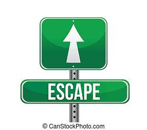 escape road sign illustration design over white