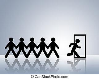escape route - paper chain figures running away escape ...