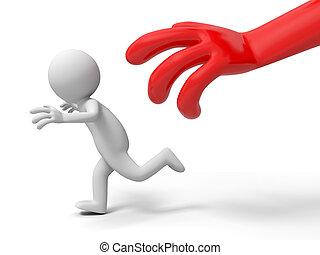 Escape, run away, catch  - A big hand catch a person