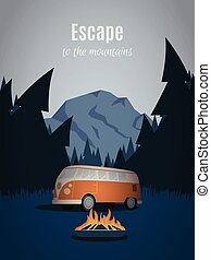 Escape to the mountains. Old van in thee woodland. Mountain retro poster