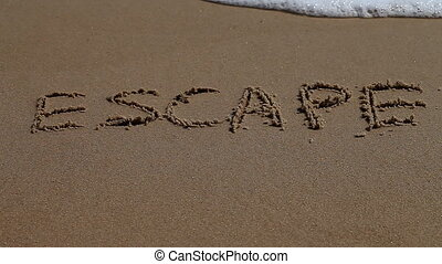 escape, word, sand, sea, coast - word of the escape on the...