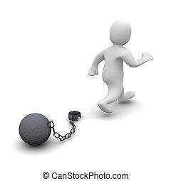 Escaping criminal. 3d rendered illustration isolated on...