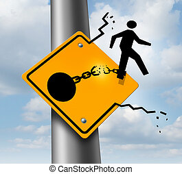 Escaping to freedom business concept as a businessman symbol on a traffic sign breaking free from the restrains of a ball and chain as a success metaphor of a new career or conquering adversity and emotional stress.