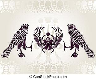 escarabajo, horus, egipcio