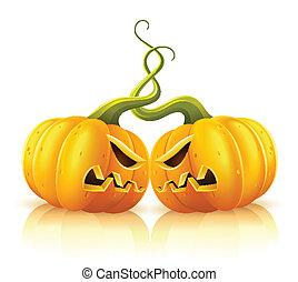 escaramuza, agresivo, calabazas, halloween, dos