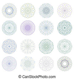 escarapela, pattern., eps, guilloche, vector, 8