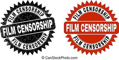 escarapela, película, negro, watermark, estilo, censura, rasguñado