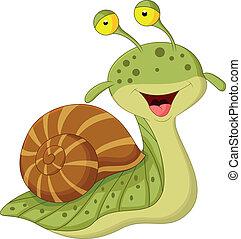 escargot, dessin animé, mignon