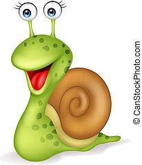 escargot, dessin animé, sourire