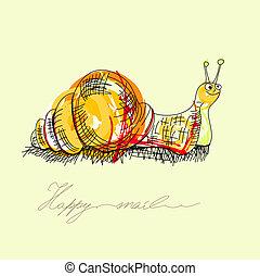 escargot, heureux