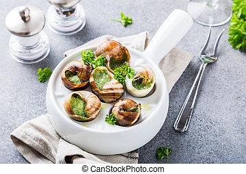 beurre manger escargot persil ail frit photographie de stock rechercher des images et des. Black Bedroom Furniture Sets. Home Design Ideas