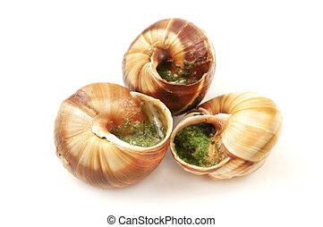Escargots a la Bourguignonne (snails in garlic butter) on a...