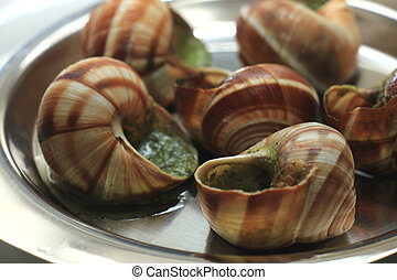Escargots de Bourgogne on a metal plate, just out of the...