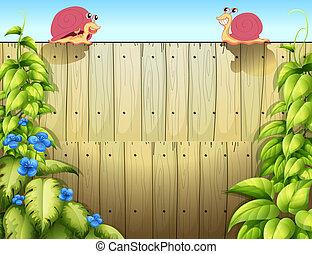 escargots, deux, barrière, au-dessus