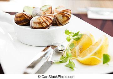 Escargots with garlic butter - Classic escargots with garlic...